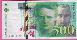 Billet De 500F  Pierre Et Marie Curie -1994   - G 015134765 - 1992-2000 Last Series