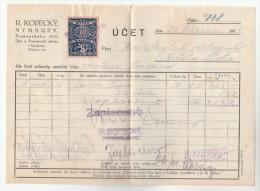 1931 Nymburk CZECHOSLOVAKIA 10h REVENUE Stamps On DOCUMENT Receipt From R Kopecky 708 , Fiscal Heraldic Lion - Czechoslovakia