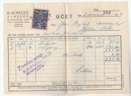 1931 Nymburk CZECHOSLOVAKIA 10h REVENUE Stamps On DOCUMENT Receipt From R Kopecky 359 , Fiscal Heraldic Lion - Czechoslovakia