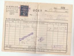 1931 Nymburk CZECHOSLOVAKIA 10h REVENUE Stamps On DOCUMENT Receipt From R Kopecky 329 , Fiscal Heraldic Lion - Czechoslovakia