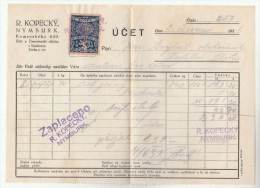 1931 Nymburk CZECHOSLOVAKIA 10h REVENUE Stamps On DOCUMENT Receipt From R Kopecky 207 , Fiscal Heraldic Lion - Covers & Documents