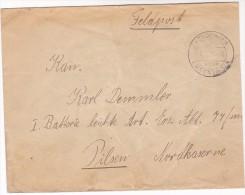 1940s Kondringen GERMANY FELDPOST COVER To Pilsen CZECHOSLOVAKIA Forces Military Stamps - Alemania