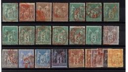"""P-167: FRANCE: Lot """"SAGE N/B & N/U"""" Oblitérations Rouges - 1876-1878 Sage (Tipo I)"""