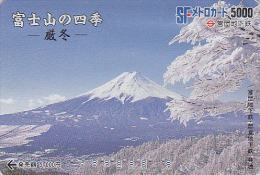 Carte Prépayée Japon - VOLCAN  MONT FUJI - VULCAN Mountain Japan Prepaid Card - VULKAN Berg Karte - Metro 220 - Volcanos