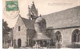 Trégastel-(Côtes-d'Armor)-1913-L'Eglise Et L'Ossuaire-Cimetière-Cachet Ambulant-Convoyeur De Lannion à Plouaret - Trégastel