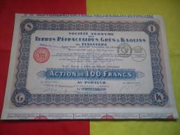 GRES ET KAOLINS DU FINISTERE (100 Francs) Riec Sur Belon - Actions & Titres