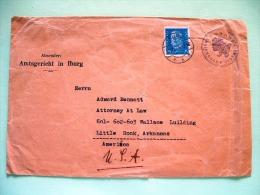 Germany 1931 Justice Court, Iburg, Preuss Cover To USA - Eagle Label On Back - Hindenburg - Alemania