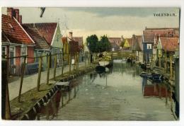 DE997-Beginning 1900's PC VOLENDAM-Canal View With Boats-Color-New - Volendam