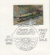 1985 GB Stamps EVENT COVER Pmk   BRISTOL  SWPR Railway Steam Train - Trains