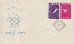 Enveloppe   1er   Jour    ROUMANIE     JEUX   OLYMPIQUES  De   MELBOURNE   1956 - Summer 1956: Melbourne