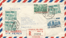 RG)1952 PERU, MULTIPLE, LIMA CIRC. CANC., BASELS2 STRIKE AT THE BACK,LIMA ARCHAEOLOGY MUSEUM-AIR VIEW RESERVA PARK, LIMA - Peru