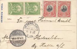 RG)1906 PERU, MANCO CAPAC-ADMIRAL MIGUEL L. GRAU, POST OFFICE AND TELEGRAPH POSTAL CARD, CIRCULATED TO GERMANY, XF - Peru