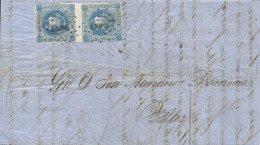G)1860 PERU, COAT OF ARMS 1D VERITCAL PAIR, AREQUIPA LINEAL DOBLE CANC., CIRCULATED COMPLETE LETTER TO ISLAY, XF - Peru