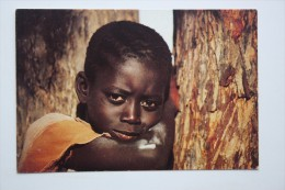 AFRICA  SENEGAL. Little Boy Looking  - Old Postcard - Senegal