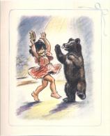 Litho Germaine BOURET Année 45/50 - Sur Support Cartonné - Au Cirque La Danse De L'ours - H20cm - Lithographies