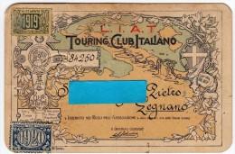 LEGNANO - TESSERA DI RICONOSCIMENTO - L.I.A.T. - TOURING CLUB ITALIANO - 1915 - 1920 - MOTOCICLETTA - Colecciones