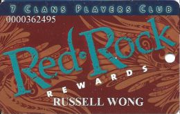 7-Clans Players Club Red Rock Rewards Slot Card From Oklahoma - Casino Cards