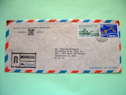 Liberia 1964 Registered Cover To USA - Airport - Space Exploration - Sacred Heart Commadery Logo - Liberia