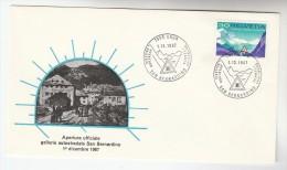 1967 CHUR  San Bernardino ROAD TUNNEL EVENT COVER Switzerland Stamps - Cars