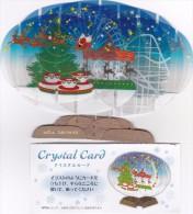 CRYSTAL CARD SANTA CLAUS PERE NOEL JAPAN BEAUTIFUL SUPERBE - Santa Claus