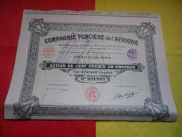 COMPAGNIE FONCIERE DE L´AFRIQUE (100 Francs) 1932 - Shareholdings