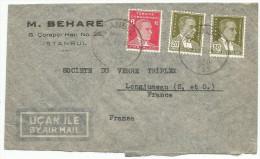 TURQUIE LETTRE AVION D'ISTANBUL POUR LA FRANCE DU 4/10/1945 - 1921-... Republiek