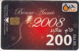 Algérie Télécarte Oria Bonne Année 2008 - Calendrier De 2008 - Algérie