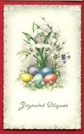 PAD-07 Joyeuses Pâques, Bouquet De Lys Et Oeufs De Paques.  Cachet Bruxelles 1960 - Pâques