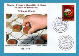 Algeria China, FDC, Chinese Chess Echecs Jeux Echec Ajedrez, 55th Anniv. Diplomatic Relations Algerie Chine 2013 - Chess
