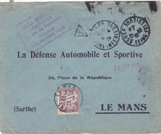 15950# LETTRE TAXE DUVAL BANDEROLE Obl ROUEN SEINE MARITIME 1925 DAGUIN JUMELE Pour LE MANS SARTHE - 1921-1960: Période Moderne