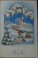 BUON ANNO Bimbo Con Carretto, Albero Di Natale E Coniglio - Paesaggio Innevato - Formato Piccolo Non Viaggiata - Año Nuevo