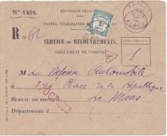 15959# LETTRE TAXE RECOUVREMENT Obl TABLAT ALGER 1933 ALGERIE Pour LE MANS SARTHE - 1921-1960: Moderne