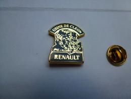 Beau Pin´s En Zamac , Auto Renault , Moteur  , Usine De Cléon - Renault