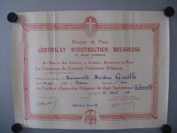 Certificat Instruction Religieuse 1939 - Diploma & School Reports