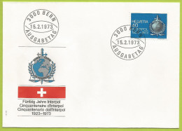 Suisse 1973 923 FDC Cinquantenaire Interpol - Police - Gendarmerie