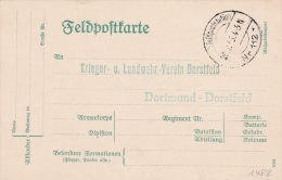 Feldpost WW1: Postcard To Krieger- U. Landwehr Verein Dorstfeld In Dortmund-Dorstfeld P/m KD Feldpoststation Nr. 112  20 - Militaria