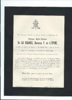 Annonce Messe/Marie Thérése De La Grange, Baronne F. De L'Epine/37 Ans /Chateau De Prouzel/Somme /1894   FPD66 - Décès