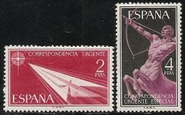 1956-ED. 1185 Y 1186 SERIE COMPLETA- ALEGORÍAS. CORREO URGENTE-NUEVO SIN FIJASELLOS - 1931-Today: 2nd Rep - ... Juan Carlos I