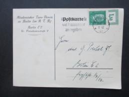 DR 1928 Reichspräsidenten Nr. 411 Oberrand W 2`9'2 Einfachfrankatur! PK. Akademischer Turn Verein Zu Berlin - Briefe U. Dokumente