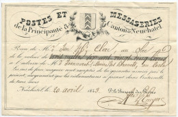 457 - Post-Schein Von 1843 Aus NEUCHATEL - Entiers Postaux