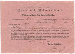 452 - Empfangschein Von Rorschach 1854 - Entiers Postaux