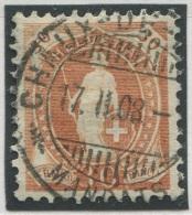 451 - Seltene 30 Rp. Stehende Helvetia Mit Faserpapier - Oblitérés