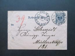 Deutsches Reich 1898 Rohrpost Umschlag RU 3 Gebraucht! Berlin H.T.A. (R 1) / R 27 - Ganzsachen