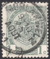 Belgium,  1 C. 1907, Sc # 82, Mi # 78, Used. - 1893-1907 Coat Of Arms