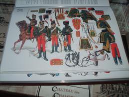 Militaria ) Uniformes - PLANCHE DE RIGO : COLLECTION LE PLUMET : Serie U : N° 21 - Hussards 7ém Régiment  - 1801 à 1815 - Uniformi