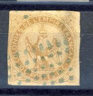 Colonie Francesi, Emissioni Generali  1859-65 N. 3 C. 10 Bistro Giallo Usato - Eagle And Crown