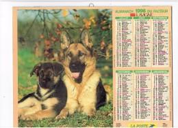 Calendrier Almanach Facteur - 1996 - Chien Loup Berger Allemand - Huskie Sibérien - Calendriers