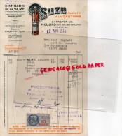 03 - MOULINS - FACTURE DISTILLERIE SUZE -103 RUE DES GARCEAUX- MAISONS ALFORT- GENTIANE- 1948 - 1900 – 1949