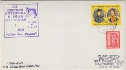 "Argentina 1974 III Crucero Antartida E Islas Malvinas ""Cabo San Vicente"" Cover (26687) - Poolshepen & Ijsbrekers"