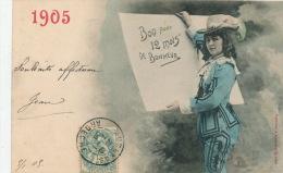 FEMMES - FRAU - LADY - Jolie Carte Fantaisie Portrait Femme De Bonne Année 1905 - Edit. BERGERET - Nouvel An